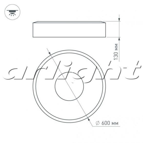 Светильник SP-TOR-RING-SURFACE-R600-42W Warm3000 (WH, 120 deg)